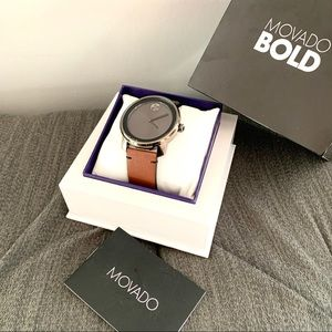NWT authentic MOVADO leather strap watch cognac
